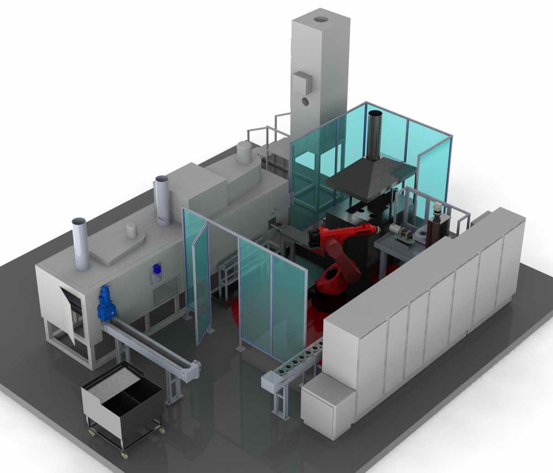 Simulación mecánica en 3D de una instalación de calentamiento por inducción