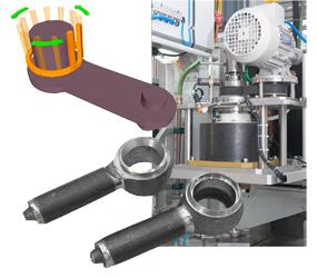 Inductor rotativo en lugar de la pieza en rotación